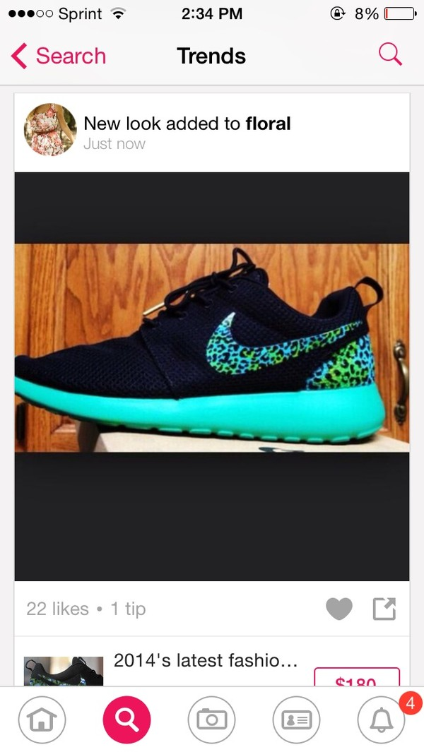 shoes blue green cheetah print roshe runs