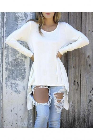 Womens Long Sleeve Handkerchief Hem Tunic Top T Shirts