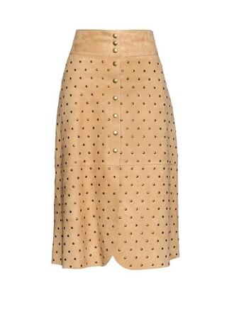 skirt suede skirt embellished suede beige