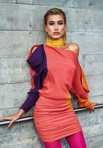 dress mini dress coral editorial hailey baldwin