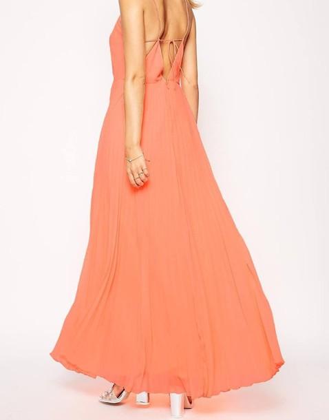 f330532171487 dress maxi long thin strap tie beck peach ball gown dress orange flowy  pleated straps
