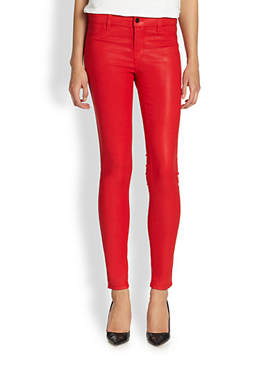J Brand - Coated Skinny Jeans/Red - Saks.com