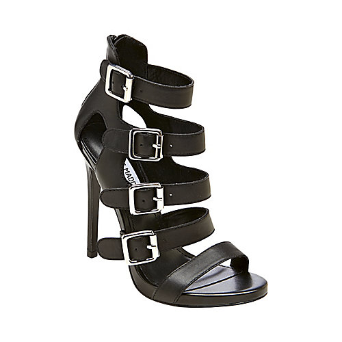 RECITAL BLACK LEATHER women's dress high ankle strap - Steve Madden