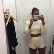 shorts,american apparel,top,cropped sweater,two-piece,shirt,sweater,outfit,matching set,crop tops,high wasit,high waisted,High waisted shorts,ribbed,ribbed shorts,ribbed top,long sleeves,crew neck crop,white,beige,cream,melanin,tumblrf,fashion,style,girl,ring,shopping,fit,crewneck,jewelry,long sleeve crop top,jumpsuit,nude
