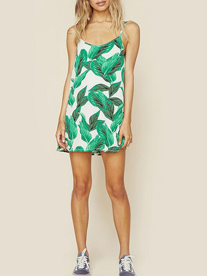 Color Block Tropical Leaf Print Tied Open Back Cami Shift Dress