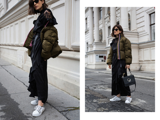 viennawedekind blogger jacket top dress pants shoes belt bag puffer jacket sneakers winter outfits