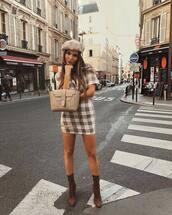 bag,handbag,leather bag,mini dress,short sleeve dress,checkered,beret,sock boots,high heels boots