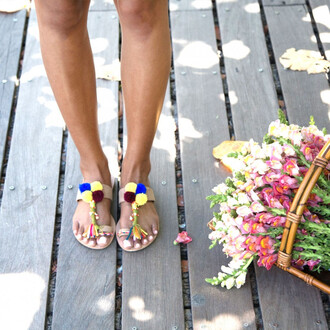 shoes mia shoes sandals neutral pom pom slide sandals toe ring sandals bikiniluxe girly girl girly wishlist flat sandals pom poms