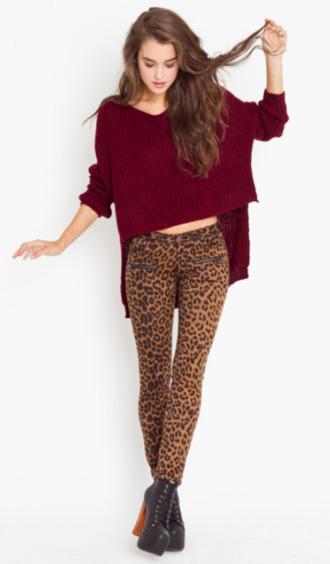 sweater burgundy leopard print pants shoes platform shoes clothes crop tops high-low dresses bottoms tumblr jeans leotard bordeaux red wine