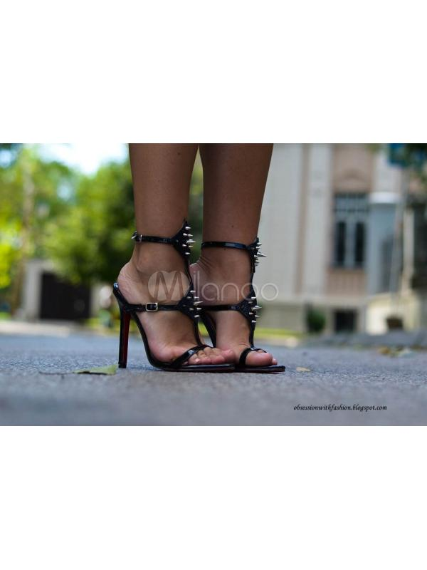 Rave Club Silver PU Leather Stiletto Heel Gladiator Sandals For Woman