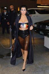 skirt,midi skirt,vinyl,top,bandeau,kourtney kardashian,kardashians,see through,coat,trench coat