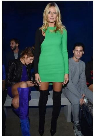 dress asymmetrical dress heidi klum fashion week over the knee boots knee high boots shoes