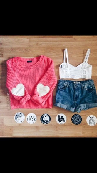 sweater heart pink tank top