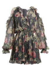 sheer,floral,print,silk,charcoal,romper