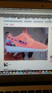 shoes,neon,orange,pink,nike,floral,girly,nike roshe run,coral,floral shoes