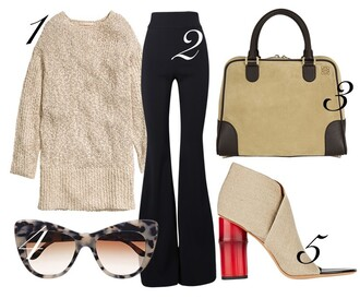 by funda blogger pants peep toe heels sweater dress 70s style handbag cat eye sweater bag sunglasses shoes