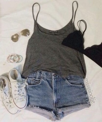 shorts denim shorts cute outfit high waisted shorts high waisted jeans jeans high waisted jean shorts tumblr outfit style tank top t-shirt shoes