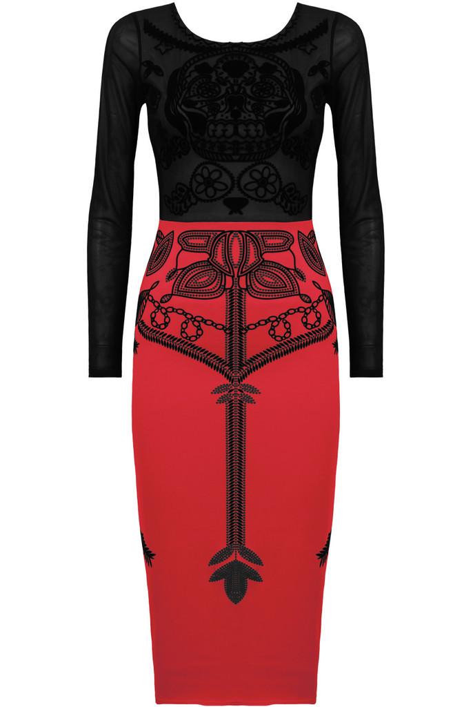 Medieval midi dress crimson