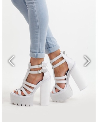 shoes white shoes platforms high heels jeffrey campbell jeans