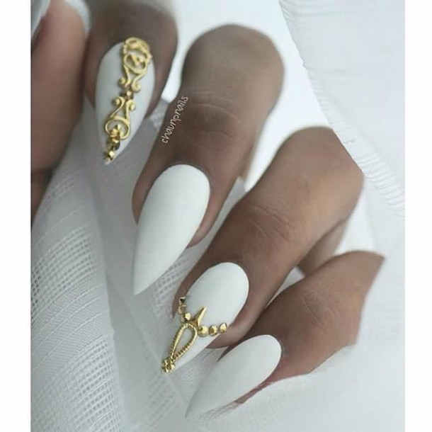 nail accessories, nail art, white and gold nails, gold nail jewels ...