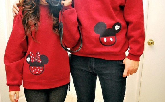 polka dots cute disney mickey mouse minnie mouse mickey mouse hoodies minnie and mickey minnie mouse jacket couple sweaters couples sweater red