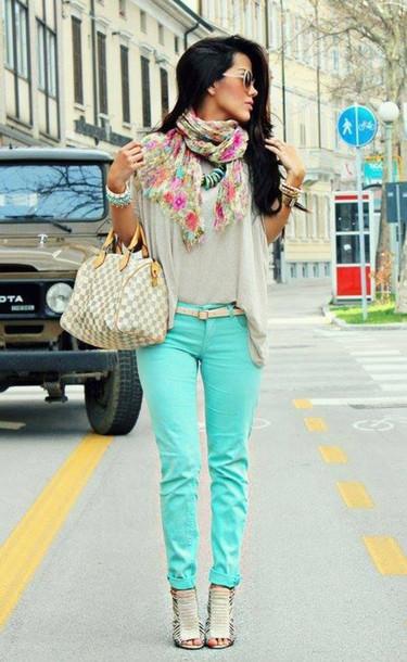 jeans scarf mint blouse