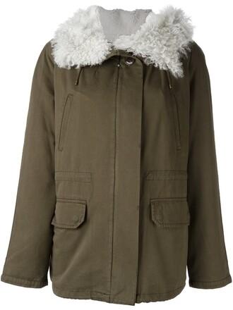 coat parka short fur women cotton green