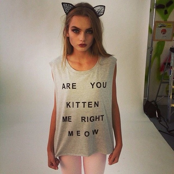 t-shirt are you kitten me meow? tank top grey tank top gray tank top cats cats meow cats cute quote on it grey