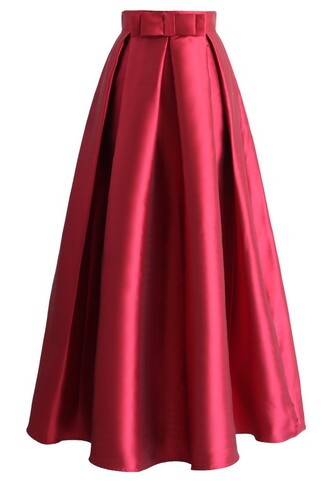 skirt bowknot pleated full maxi skirt in red chicwish pleated skirt maxi skirt red skirt bowknot