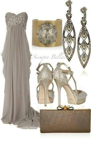 dress brown dress gown evening gown prom strapless dress grey dress abiball prom dress