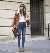 rebel attitude,blogger,jacket,jeans,shoes,bag,brown jacket,spring outfits,ankle boots,brown bag,clutch,white shirt