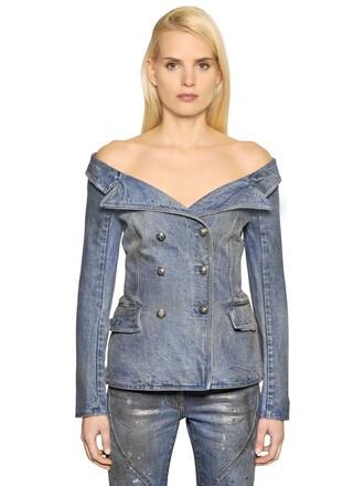 jacket denim sailor cotton blue