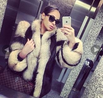 coat fur fur coat stephanie santiago hot sexy black beige nude style