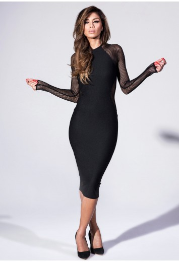 Midi Dress With Fishnet Panel - Nicole x Missguided
