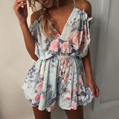 jumpsuit,romper,floral,ruffle,dress,off the shoulder,outfit,summer,summer outfits,cute,pretty,girly,flowy,floral romper,v neck,print rompers,colorful,blue,pink,strappy,classic,trendy
