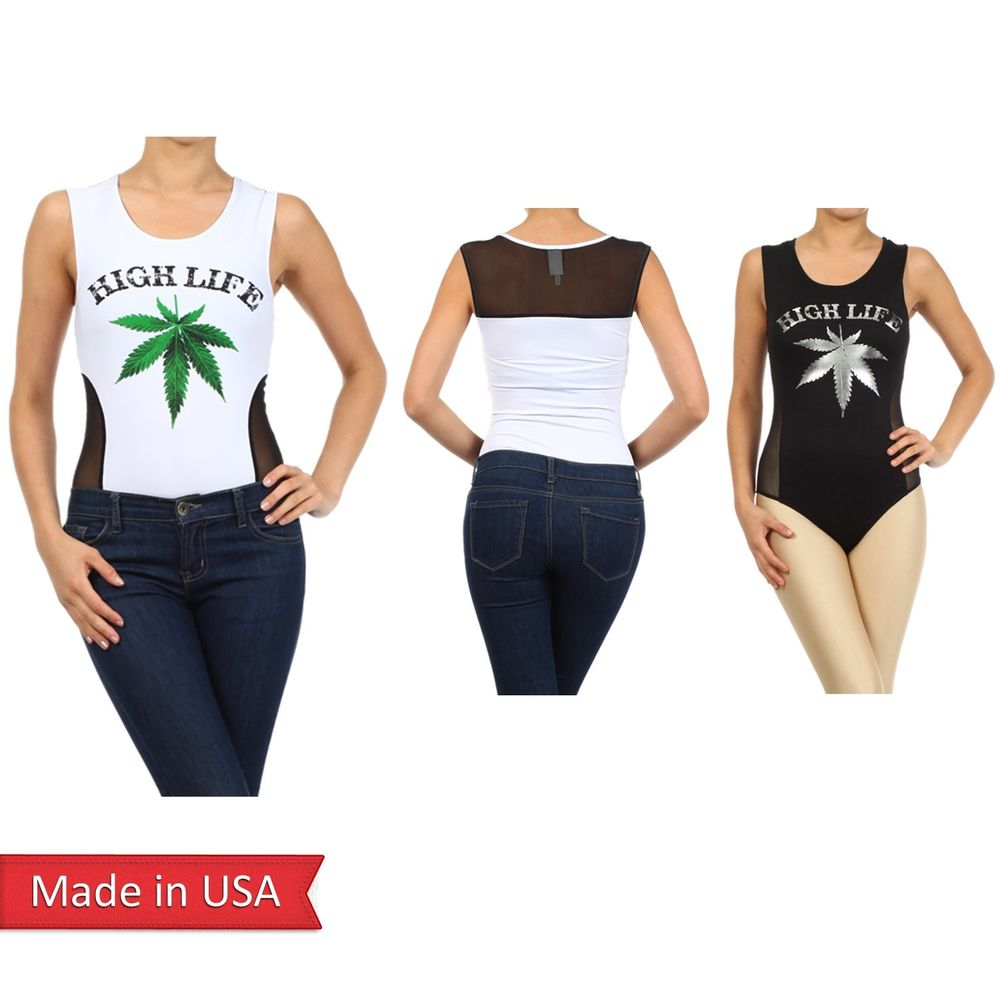High Life Destressed Print Pot Weed Marijuana Cannabis Romper Leotard Bodysuits