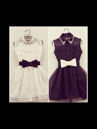 dress collardress bow tutu buttons