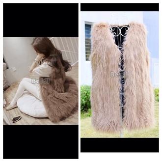 jacket white fur jacket fur vest winter jacket