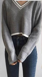 top,grey,white,grey and white,knitwear,knitted sweater,knitted top,girly,korean style,korean fashion,korean street fashion