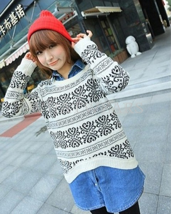Fashion Women Flower Round Neck Long Sleeves Sweater Knitwear 4 Colors FTK | eBay