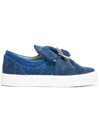 bow oversized women sneakers leather cotton blue shoes