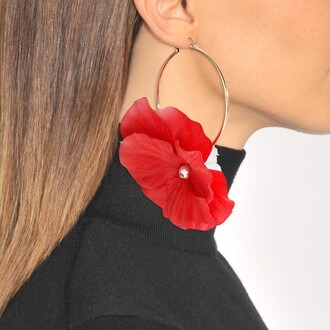 earrings coral red jewels