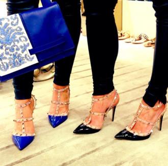 shoes blue black nude heels studs