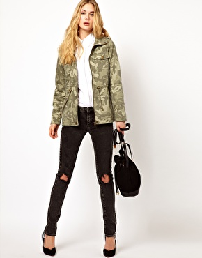Vila camo jacket with drawstring waist at asos