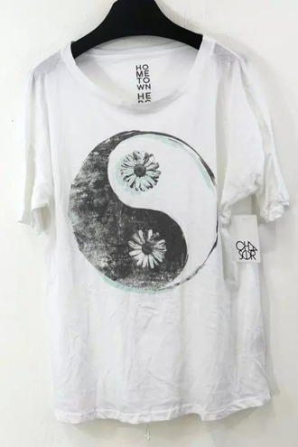 t-shirt grey and white peace peace sign peace symbol flowers
