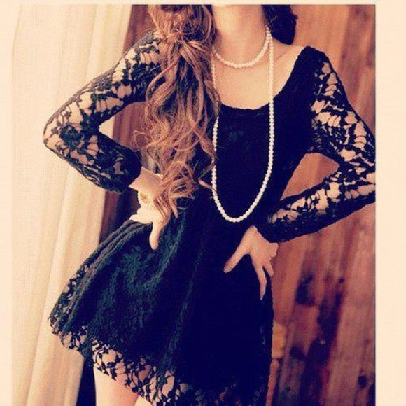 lace long sleeve black dress adorable sexy