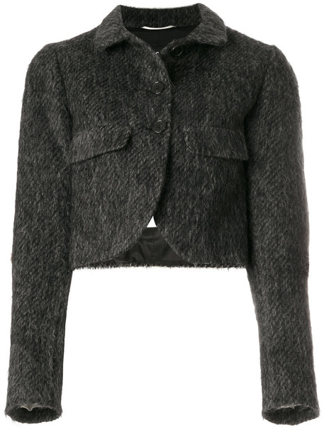 Rochas jacket cropped women mohair grey