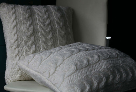 Hand knitted White Pillow case. Wool / Acrylic / Pure Merino / Cotton yarn. Cable knit pillow cover. Made to order.