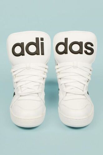 shoes adidas shoes basket black and white grunge statement piece black shoes clean adidas sneakers 2016 high top sneakers streetwear urban rubber sole letters type kawaii kawaii grunge cute back to school adidas originals sportswear white shoes