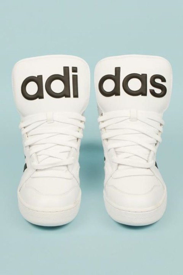 shoes adidas shoes basket white shoes every day look ootd black and white grunge statement piece black shoes clean adidas sneakers 2016 high top sneakers streetwear urban rubber sole letters type kawaii kawaii grunge cute back to school adidas originals sportswear white shoes